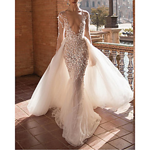 cheap Wedding Dresses-Two Piece A-Line Wedding Dresses Plunging Neck Sweep / Brush Train Lace Tulle Sleeveless Beach Sexy See-Through Backless with Embroidery Appliques 2020