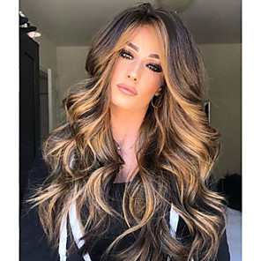 cheap Synthetic Lace Wigs-Synthetic Wig Matte Body Wave Middle Part Wig Blonde Long Light golden Synthetic Hair 65 inch Women's Highlighted / Balayage Hair Dark Roots Middle Part Blonde Brown