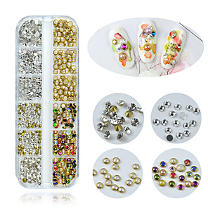 cheap Tattoo Ink-1 Box Multi Size Glass Nail Rhinestones Mixed Colors Crystal Strass 3D Charm Gems DIY Manicure Nail Art Decorations