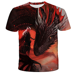 cheap Pendant Lights-Men's 3D Tie Dye Dragon Print T-shirt Street chic Exaggerated Daily Holiday Round Neck Rainbow / Short Sleeve