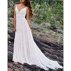 cheap Latin Dancewear-A-Line Wedding Dresses Spaghetti Strap Sweep / Brush Train Lace Sleeveless Beach Vintage Sexy Wedding Dress in Color Backless with Pleats 2020