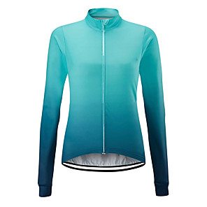 cheap Cycling Jerseys-21Grams Women's Long Sleeve Cycling Jersey Spandex Polyester Orange Blue Gradient Bike Jersey Top Mountain Bike MTB Road Bike Cycling UV Resistant Breathable Quick Dry Sports Clothing Apparel
