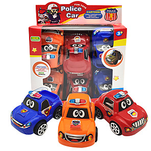 cheap Toy Cars-Toy Car Pull Back Car / Inertia Car Mini Truck Police car Cartoon Toy Colorful Plastic Mini Car Vehicles Toys for Party Favor or Kids Birthday Gift 6 pcs
