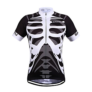 cheap Cycling Jerseys-SALETU Men's Women's Short Sleeve Cycling Jersey Polyester Black / White Bike Jersey Top Breathable Quick Dry Reflective Strips Sports Clothing Apparel / Stretchy / Sweat-wicking