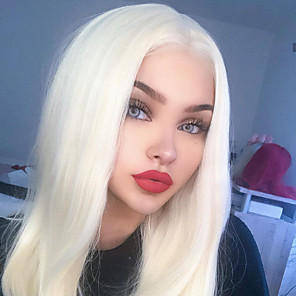 cheap Synthetic Lace Wigs-Synthetic Lace Front Wig Straight Gaga Middle Part Lace Front Wig Blonde Long Platinum Blonde Synthetic Hair 22-26 inch Women's Heat Resistant Women Hot Sale Blonde / Glueless