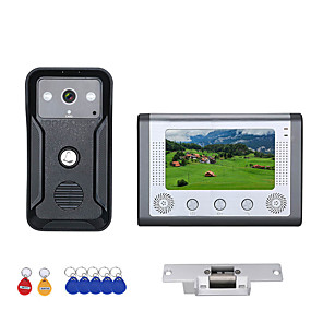 cheap Video Door Phone Systems-7 Inch Color Video Intercom Door Phone RFID System with HD Doorbell 1000TVL Camera with Electric Strike Lock