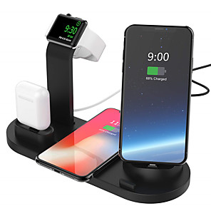 cheap USB Chargers-10W Qi Wireless Charger Dock Station 4 in 1 For Iphone Airpods Micro USB Type C Stand Fast Charging 3.0 For Apple Watch Charger