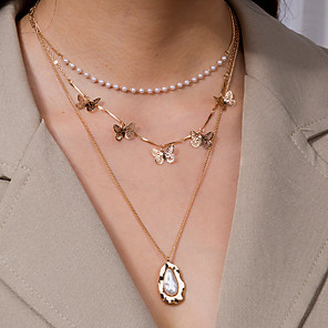 cheap Necklaces-Women's Pendant Necklace Necklace Classic Butterfly Classic Trendy Romantic Sweet Imitation Pearl Chrome Gold 50 cm Necklace Jewelry 1pc For Party Evening Street Birthday Party Beach Festival