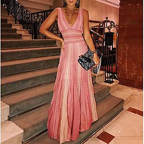 cheap Maxi Dresses-Women's Sheath Dress - Sleeveless Striped Summer Elegant 2020 Blushing Pink S M L XL XXL XXXL