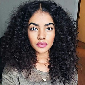 cheap Synthetic Trendy Wigs-Synthetic Wig Afro Curly Middle Part Wig Long Black Synthetic Hair 20 inch Women's Sexy Lady curling Fluffy Black