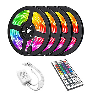 cheap Indoor Wall Lights-20m 4*5m 1200SMD 3528 RGB 44keys IR Remote Controller LED Strip Light Sets AC100-240V