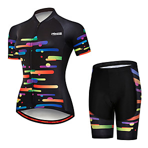 cheap Cycling Jerseys-21Grams Women's Short Sleeve Cycling Jersey with Shorts Spandex Polyester Black / Red Polka Dot Gradient Bike Clothing Suit Breathable 3D Pad Quick Dry Ultraviolet Resistant Sweat-wicking Sports