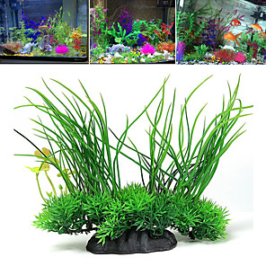 cheap Aquarium Décor & Gravel-Fish Tank Arquatic Plant Fish Bowl Ornament Waterplant Artificial Plants Green Non-toxic & Tasteless Decoration Plastic One-piece Suit 20*8*16 cm