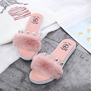 cheap Women's Sandals-Women's Slippers & Flip-Flops Fuzzy Slippers Summer Flat Heel Open Toe Daily PVC Black / Pink / Brown