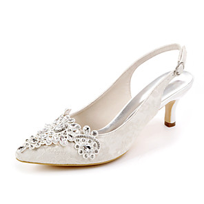 cheap Wedding Shoes-Women's Wedding Shoes Spring / Summer Stiletto Heel Pointed Toe Sweet Wedding Party & Evening Rhinestone Floral Lace White / Light Purple / Ivory