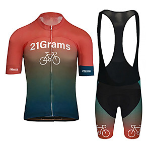 cheap Cycling Jerseys-21Grams Men's Short Sleeve Cycling Jersey with Bib Shorts White Black Bike UV Resistant Quick Dry Sports Patterned Mountain Bike MTB Road Bike Cycling Clothing Apparel / Stretchy