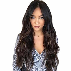 cheap Synthetic Trendy Wigs-Synthetic Wig Matte Body Wave Middle Part Wig Very Long Natural Black Synthetic Hair 26 inch Women's Highlighted / Balayage Hair Middle Part curling Black