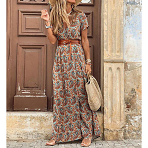 cheap Wetsuits, Diving Suits & Rash Guard Shirts-Women's Maxi long Dress - Short Sleeve Paisley Print Summer V Neck Casual Holiday Vacation 2020 Blue Red Brown S M L XL XXL XXXL