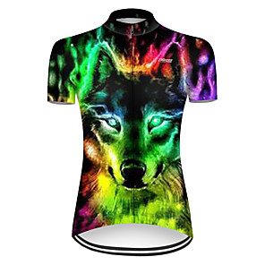 cheap Cycling Jerseys-21Grams Women's Short Sleeve Cycling Jersey Nylon Polyester Black / Green Gradient Animal Wolf Bike Jersey Top Mountain Bike MTB Road Bike Cycling Breathable Quick Dry Ultraviolet Resistant Sports