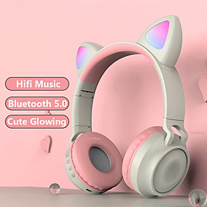 cheap On-ear & Over-ear Headphones-Cute Wireless Headphones Glowing Bluetooth 5.0 Headphones For Girls Cat Ear Headset HiFi Stereo Music With Microphone For Game