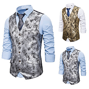cheap Historical & Vintage Costumes-Plague Doctor Vintage Gothic Steampunk Masquerade Vest Waistcoat Men's Costume Golden / Silver Vintage Cosplay Event / Party Sleeveless