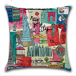 cheap Throw Pillow Covers-Cartoon City Landscape Pillowcase Digital Printing Metropolitan Cushion Cover Linen