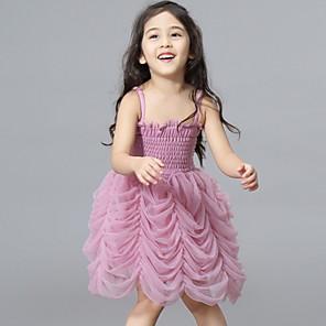 cheap Kids' Dancewear-Kids' Dancewear Dress Ruching Gore Girls' Performance Sleeveless Polyester