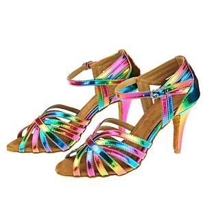 cheap Latin Shoes-Women's Dance Shoes Latin Shoes Heel Cuban Heel Rainbow / Performance