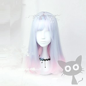 cheap Synthetic Trendy Wigs-Cosplay Costume Wig Cosplay Wig Lolita Straight Cosplay Halloween Middle Part With Bangs Wig Ombre Medium Length Ombre Blue Synthetic Hair 18 inch Women's Anime Cosplay Ombre Hair Ombre