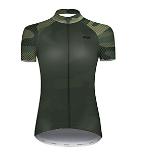 cheap Cycling Jerseys-21Grams Women's Short Sleeve Cycling Jersey Nylon Polyester Black / Green Patchwork Camo / Camouflage Bike Jersey Top Mountain Bike MTB Road Bike Cycling Breathable Quick Dry Ultraviolet Resistant