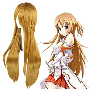 cheap Anime Costumes-Cosplay Wig Asuna Yuuki SAO Swords Art Online Straight Cosplay Asymmetrical With Bangs Wig Very Long Brown Synthetic Hair 36 inch Women's Anime Cosplay Classic Brown