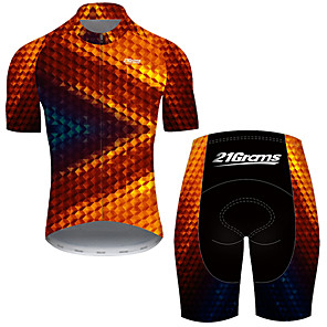 cheap Cycling Jersey & Shorts / Pants Sets-21Grams Men's Short Sleeve Cycling Jersey with Shorts Nylon Polyester Black / Red 3D Stripes Gradient Bike Clothing Suit Breathable 3D Pad Quick Dry Ultraviolet Resistant Reflective Strips Sports 3D