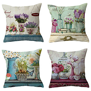 cheap Throw Pillow Covers-4 pcs Throw Pillow Simple Classic 45*45 cm Cushion Vintage Circle Cover Sofa Home Decor Throw Pillow Case