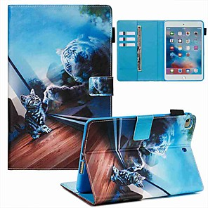 cheap iPad case-Case For Apple iPad Mini 3/2/1 / iPad Mini 4 / iPad Mini 5 Wallet / Card Holder / with Stand Full Body Cases Mirror Cat PU Leather / TPU
