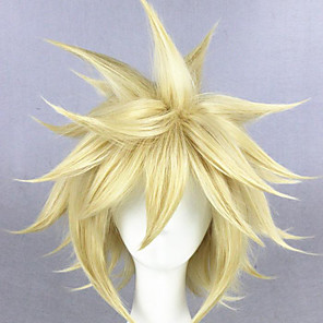 cheap Costume Wigs-Cosplay Wig Cloud Strife Final Fantasy Straight Cosplay Layered Haircut With Bangs Wig Short Light Blonde Synthetic Hair 14 inch Men's Anime Cosplay Cool Blonde