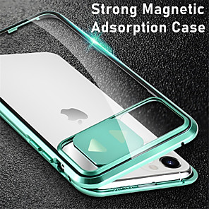 cheap iPhone Cases-Magnetic Case For iPhone SE 2020 11 11Pro 11Pro Max X XS XR XS Max 8 Plus 8 7 Plus 7 Adsorption Double Sided Case Clear Tempered Glass Metal 360 Protective Cover
