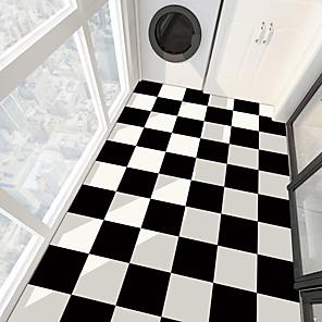 cheap Wall Stickers-PVC antiskid twill print black and white paste bathroom bedroom living room DIY floor paste