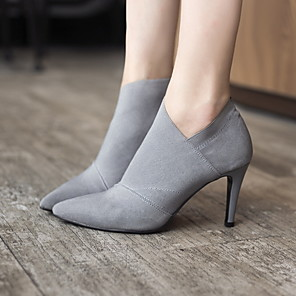 cheap Women's Boots-Women's Boots Spring / Fall Stiletto Heel Pointed Toe Daily Suede Mid-Calf Boots Black / Gray