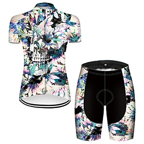 cheap Cycling Jersey & Shorts / Pants Sets-21Grams Women's Short Sleeve Cycling Jersey with Shorts Nylon Polyester Black / Blue Skull Floral Botanical Bike Clothing Suit Breathable 3D Pad Quick Dry Ultraviolet Resistant Reflective Strips