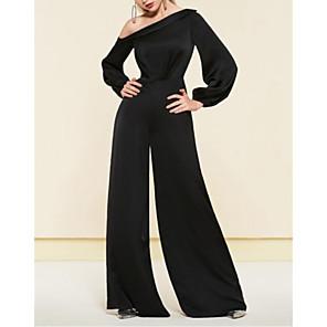 cheap Women's Sandals-Jumpsuits Elegant Minimalist Wedding Guest Formal Evening Dress One Shoulder Long Sleeve Floor Length Satin with Sleek 2020
