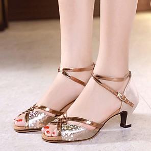 cheap Latin Shoes-Women's Dance Shoes Modern Shoes Heel Cuban Heel Gold / Silver / Brown