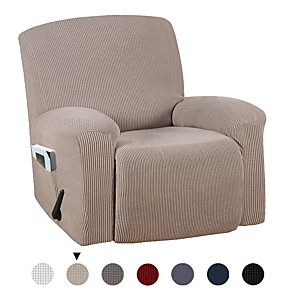 cheap Throw Pillow Covers-Stretch Recliner Chair Cover Recliner Cover for Electric/Manual Style Furniture Cover for Reclining with Side Pocket Soft Checked Jacquard Fabric Form Fitted