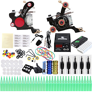 cheap Professional Tattoo Kits-Professional Tattoo Kit Tattoo Machine - 2 pcs Tattoo Machines, Professional LCD power supply 2 alloy machine liner & shader