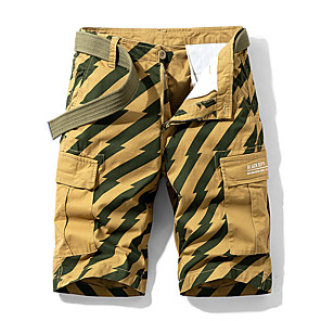 cheap Hiking Trousers & Shorts-Men's Hiking Shorts Hiking Cargo Shorts Stripes Summer Outdoor Standard Fit Breathable Quick Dry Sweat-wicking Multi-Pocket Cotton Shorts Bottoms Black Yellow Red Army Green Blue Camping / Hiking
