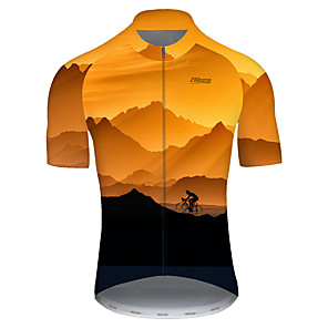cheap Cycling Jerseys-21Grams Men's Short Sleeve Cycling Jersey Nylon Polyester Black / Orange 3D Gradient Bike Jersey Top Mountain Bike MTB Road Bike Cycling Breathable Quick Dry Ultraviolet Resistant Sports Clothing
