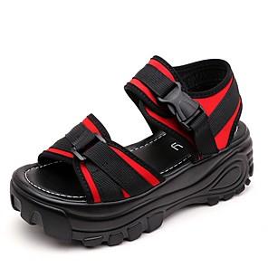 cheap Women's Sandals-Women's Sandals Summer Flat Heel Round Toe Daily Color Block PU Black / Red