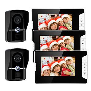 cheap Video Door Phone Systems-Wired 7 Inch Hands-free 800*480 Pixel Video Doorphone 2 Camera 3 Monitor Video Intercom Waterproof grade IP55