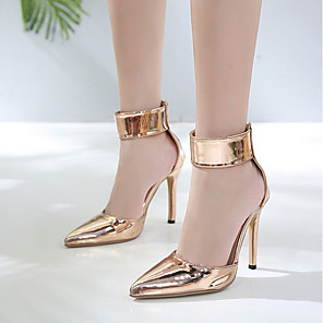 cheap Women's Sandals-Women's Heels Summer Stiletto Heel Pointed Toe Daily PU Gold