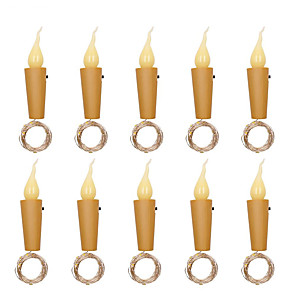 cheap Thermometers-10pcs 6pcs 20 leds Candle Wine Bottle Lights With Cork 2M LED String Lights Batteries Powered Garland String Fairy Night Lamp Wedding Decoration