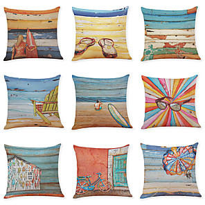cheap Throw Pillow Covers-9 pcs Linen Pillow Cover, Summer Beach Casual Modern Square Vintage